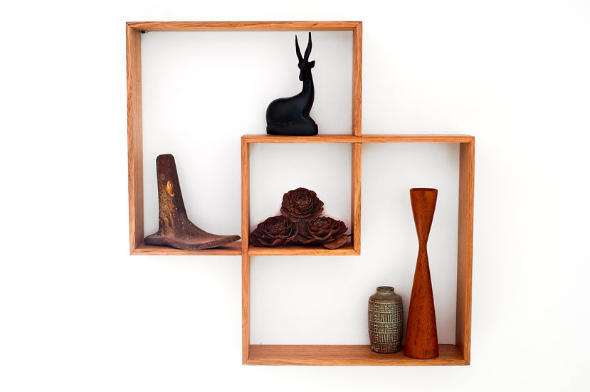 2 Box Shelf / Shadow Box Meranti