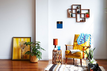 Retro inspired room with a 4 Box Shadow box in Meranti