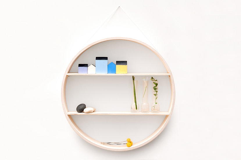 White Wash Circular Shelf / Shadow Box
