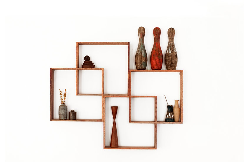 4 Box Shelf / Shadow Box Meranti