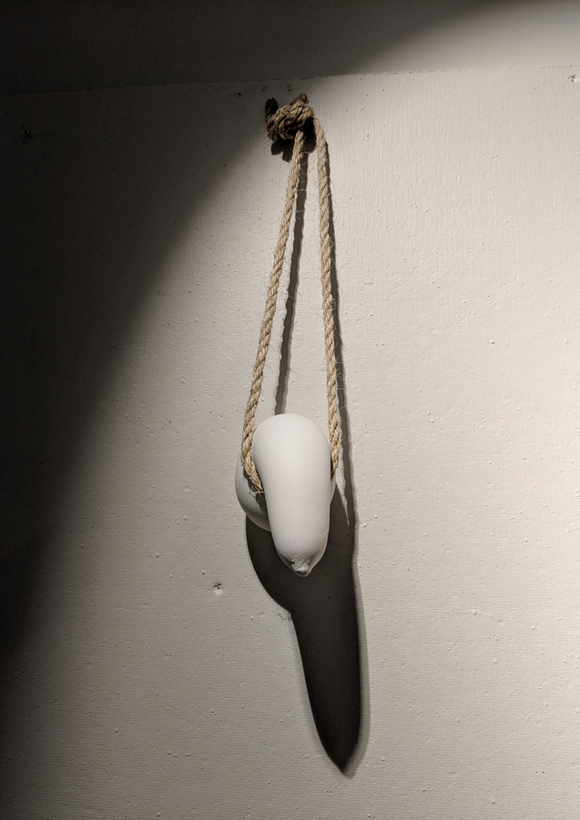 """Choked, 2018. Plaster and rope. 10""""x6""""x4"""""""