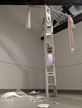 Watch Out (nevermind), 2019. Plaster and found material.