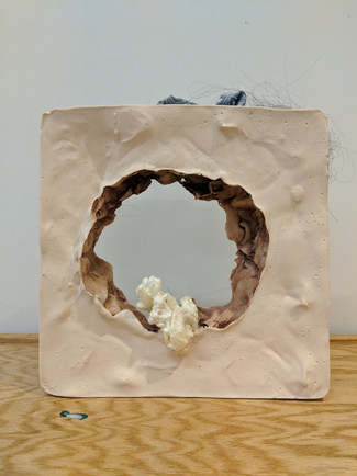 Everything's Hair, 2019. Plaster, hair, foam, and fabric.