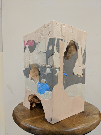 """I'm Here, 2019. Plaster and found material. 11""""x7.5""""x6.5"""""""
