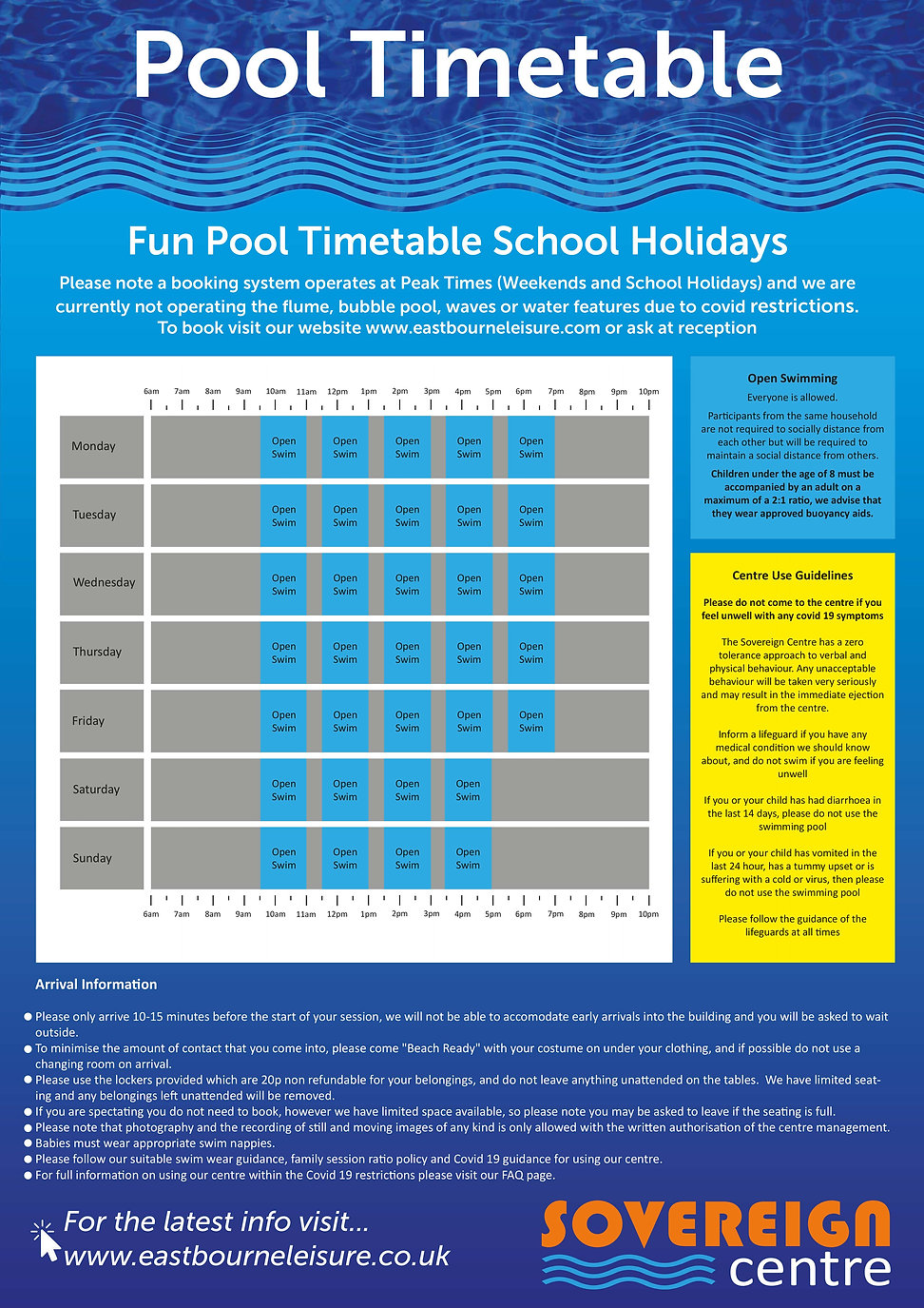 Fun Pool timetable Poster school holiday