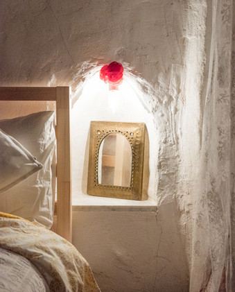 bed side table, cave house, Spain.
