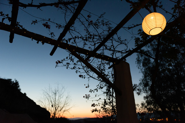 Sola garden lights on the terrace