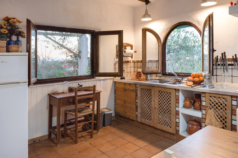 Cave hosue kitchen with beautiful views