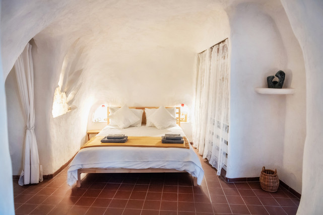 Sleeping in a cave house rental