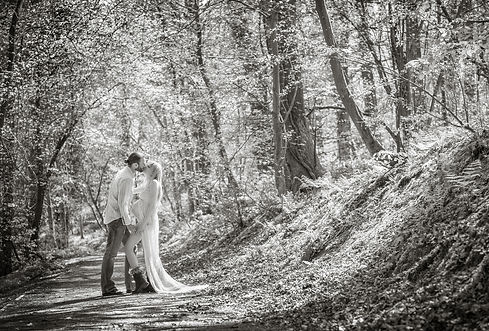 Black and white maternity portrait photograph on location in woodlands. Pregnancy photography by Morag MacDonald