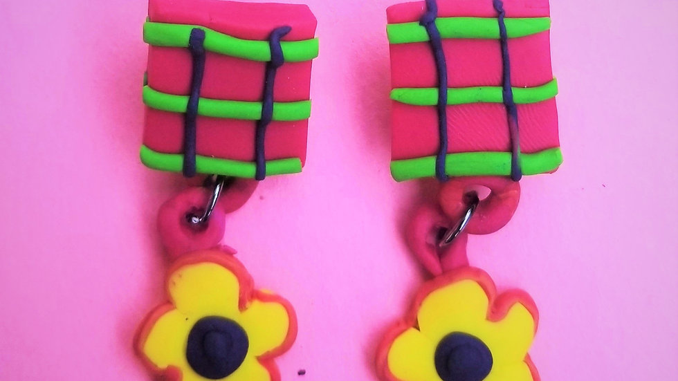 Yellow Flower and Plaid Post Earrings