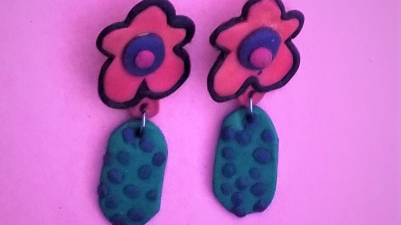 Red and Green Floral Post Earrings
