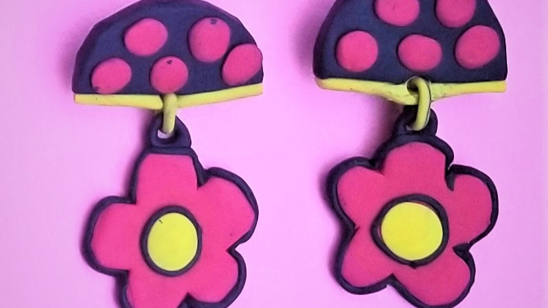 Red and Yellow Floral Post Earrings