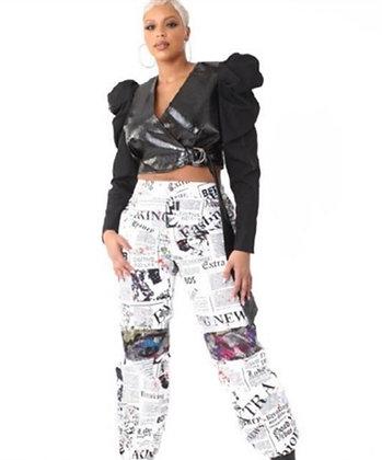 Newsprint Sequin Jogger Pants