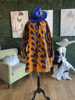 Multicolor Authentic African Print Button Down Print Dress
