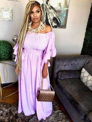 Off Shoulder Wide Ruffle Sleeves Maxi Dress