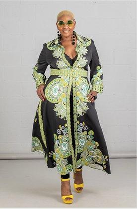 Green Black & White Sleeve Bling Plus Dress