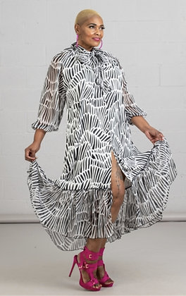 Animal Print Button Front Dress