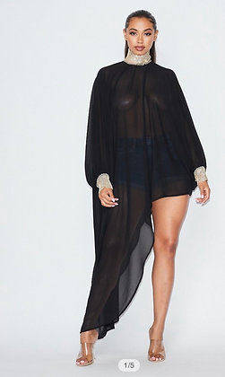 Black High Low Bling Neck Sheer Top