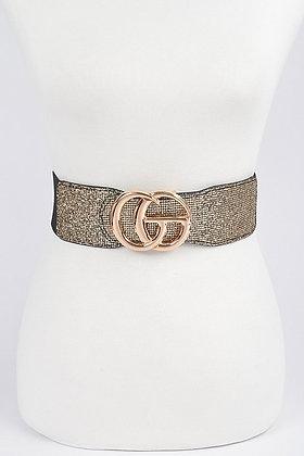 Gold Glitter Elastic Belt (Will Fit Plus)