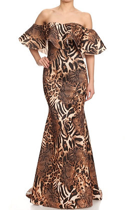 Off The Shoulder Evening Maxi Leopard Dress