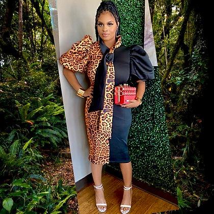 2 Attitude Dress Leopard Midi Dress
