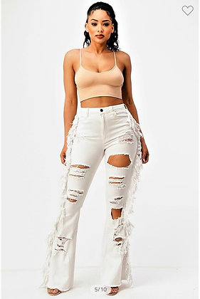 High Rise Flare Tassel Jeans