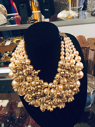 Gold Peal Bib Necklace