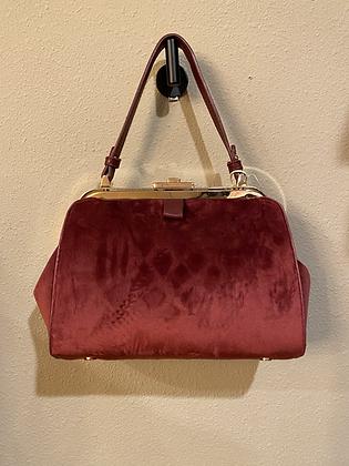 Burgundy Faux Leather Clutch