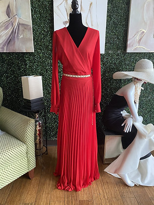 Long Sleeve Pleated Maxi Dress