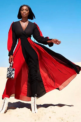 The Red & Black Sheer Maxi Dress