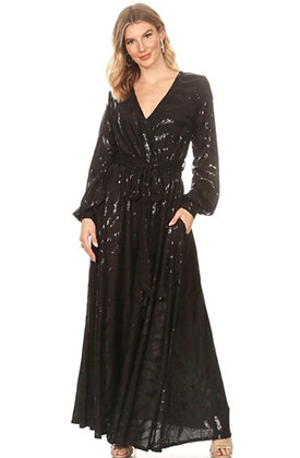 Sheer Sleeve Maxi Dress With A Touch of Silver