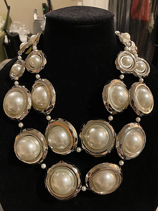 Cream Big Pearl Bib Necklace With Matching Earrings