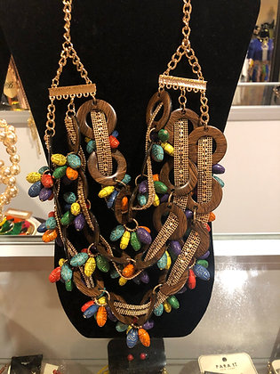 Wood Multi-Colored Feather Necklace