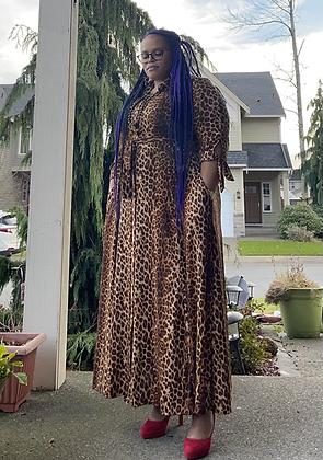 Trendy Brown Leopard Long Maxi Dress