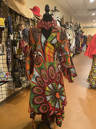 Multicolor Authentic African Print Wrap Print Dress