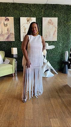 Shingle 2 Piece White Skirt Set