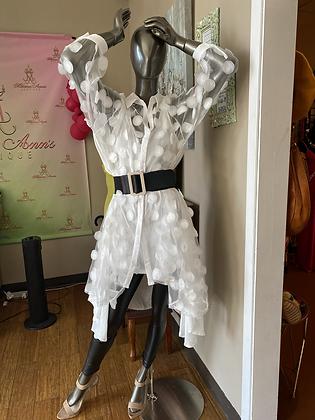 White Sheer Circle Pattern Dress