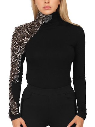 Thick Chick Long Sleeve One Side Snake Leather Mock Turtleneck