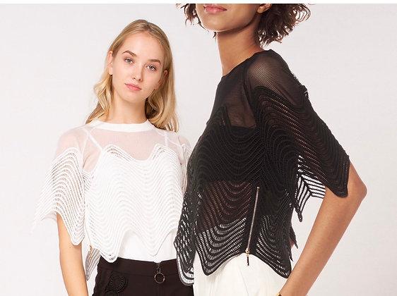 Mesh Crop Top With Side Zipper