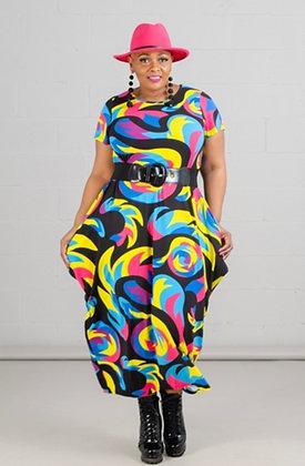 Print Knit Bubble Dress