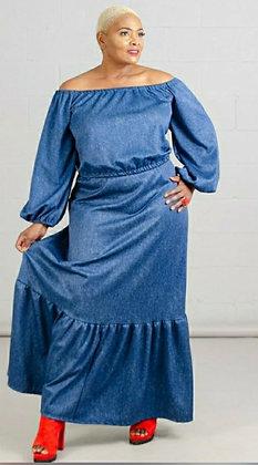Denim 2pc Off Shoulder Skirt Set