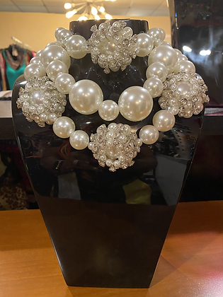 Chunky Mother  Of Pearls  Necklace With Matching Earrings