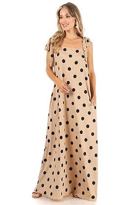 Bow Strap Maxi Dress Tan