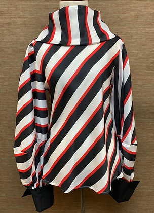 Striped Red Black & White Blouse