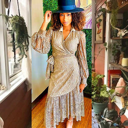 High-low Ruffle Lace Wrap Dress