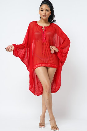 See through Parachute Dress With Lace Up Detail