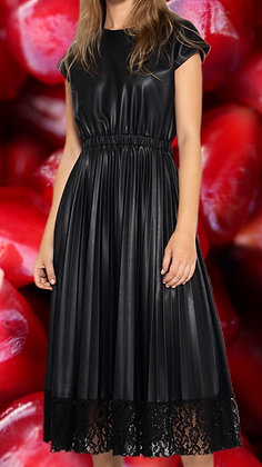 Pleated Faux Leather Dress with Lace Hem