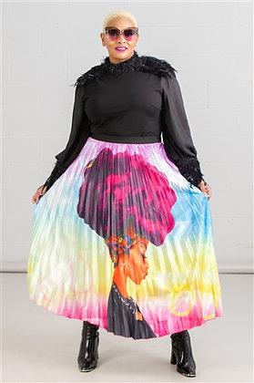Black Girl Multi Color Pleated Skirt