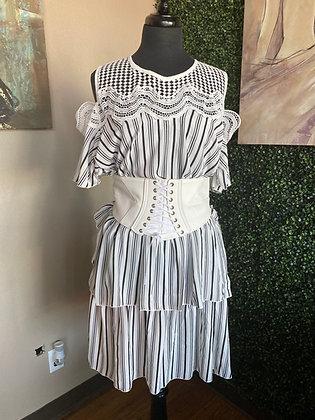Casual Midi Maxi Strip Ruffle Dress